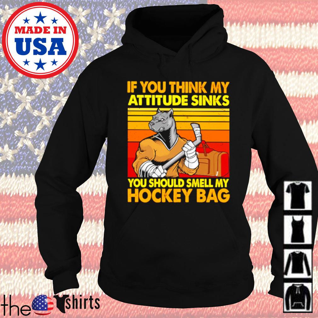 Vintage wolf If you think my attitude sinks you should smell my hockey bag s Hoodie Black