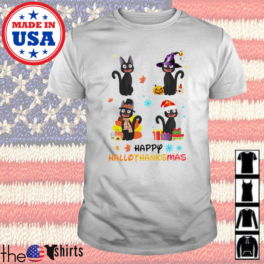 Witch Black cat happy Hallothanksmas shirt