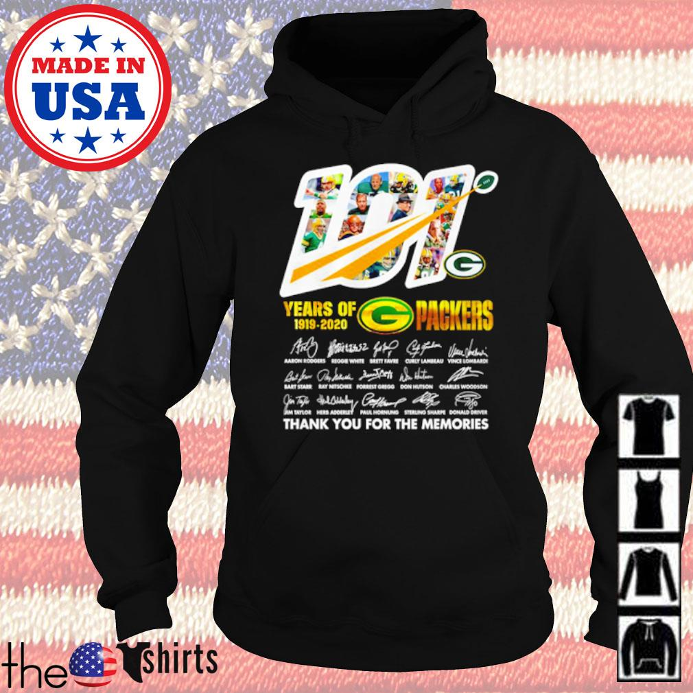 101 Years of Green Bays Packers 1919-2020 thank you for the memories signatures s Hoodie