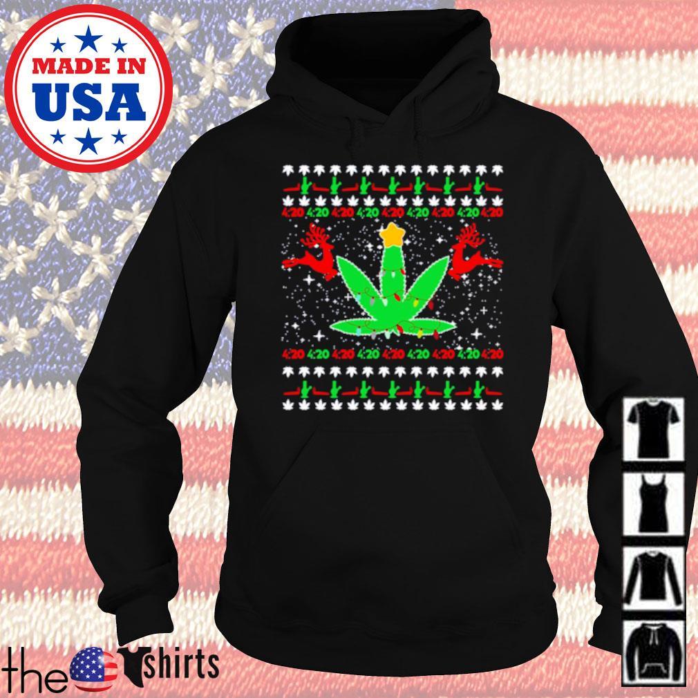 420 Cannabis reindeer ugly Christmas sweater Hoodie