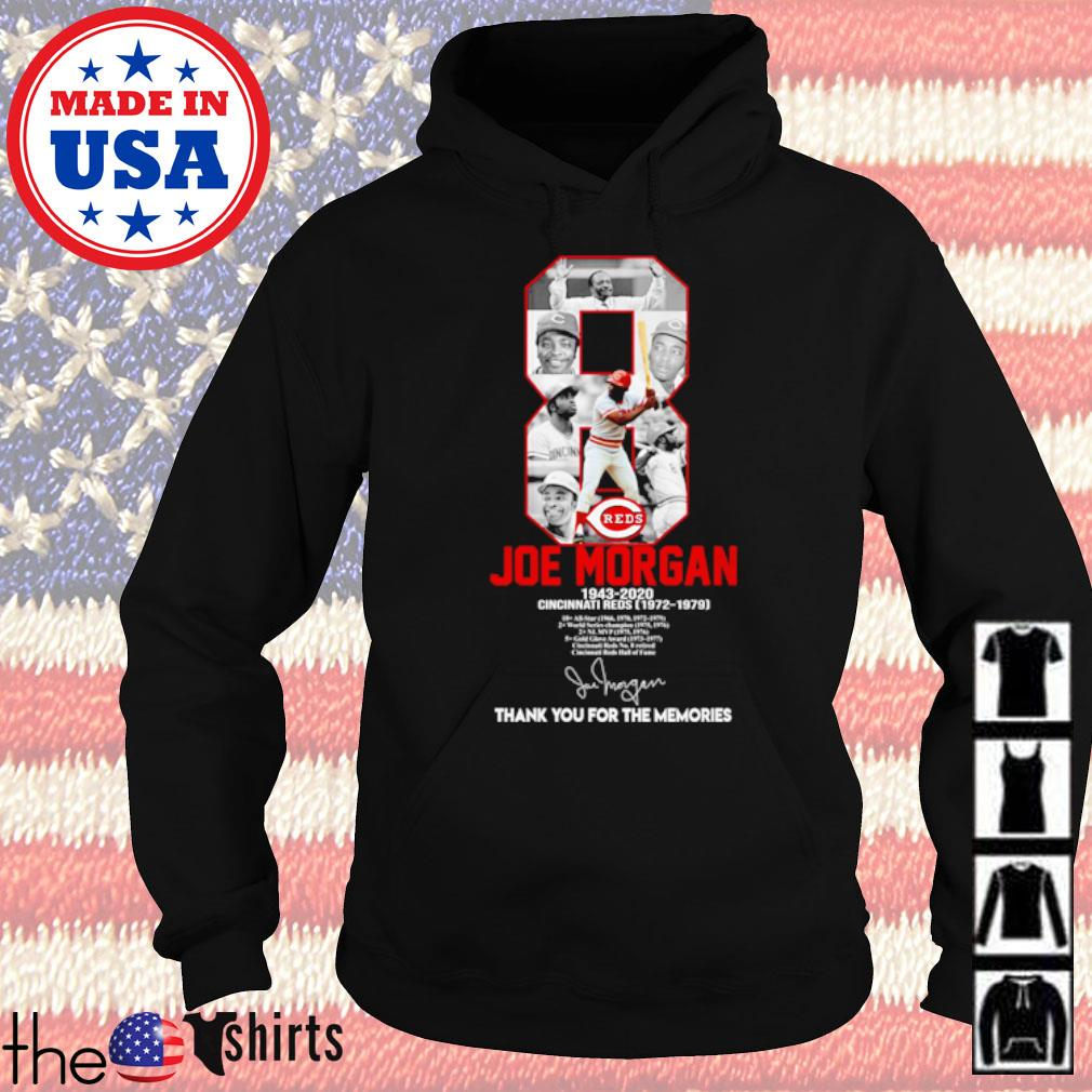 8 Joe Morgan 1943-2020 Cincinnati Reds thank you for the memories signature s Hoodie