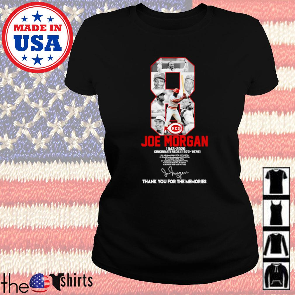 8 Joe Morgan 1943-2020 Cincinnati Reds thank you for the memories signature s Ladies tee