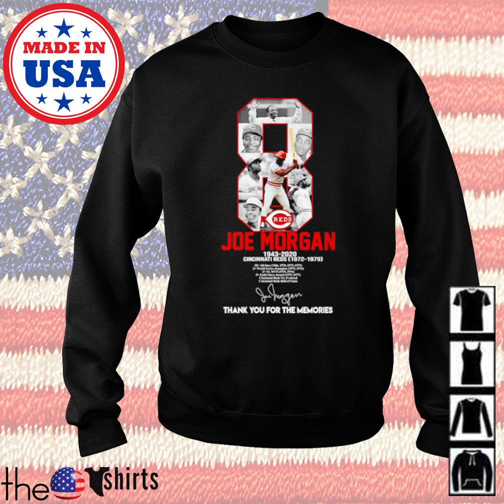 8 Joe Morgan 1943-2020 Cincinnati Reds thank you for the memories signature s Sweater