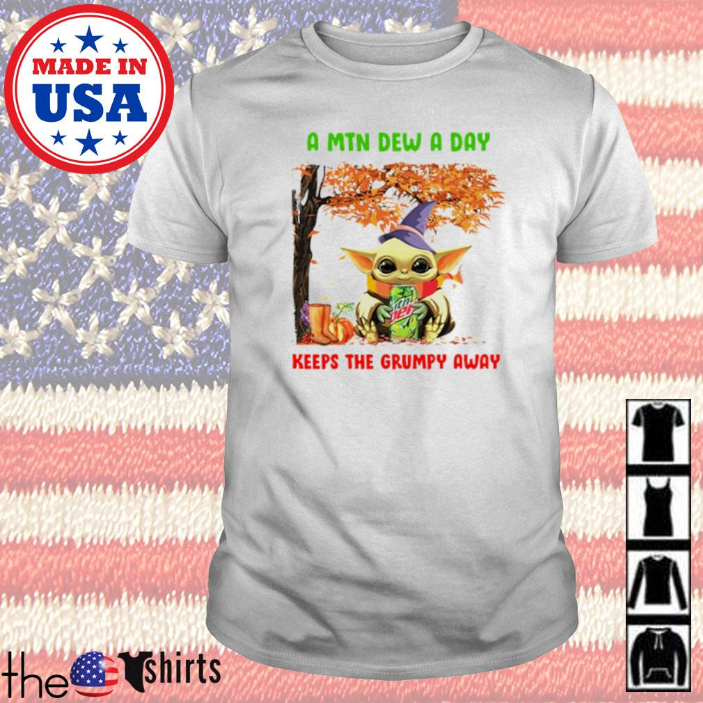 Autumn tree Mountain Dew Baby Yoda a MTN Dew a day keeps the grumpy away shirt
