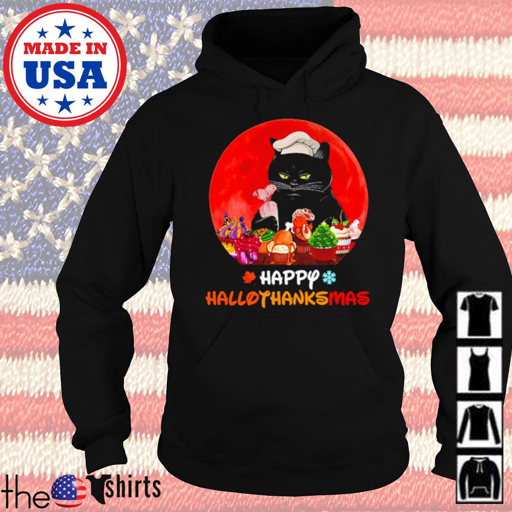 Cat and baking happy Hallothanksmas blood moon s Hoodie