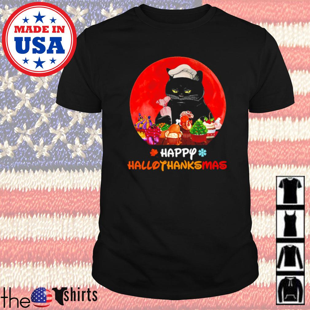 Cat and baking happy Hallothanksmas blood moon shirt