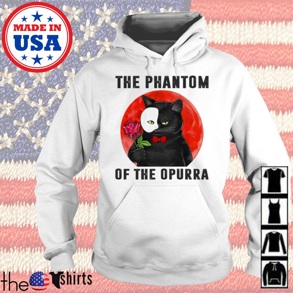 Cat hold rose the phantom of the Opurra blood moon s Hoodie
