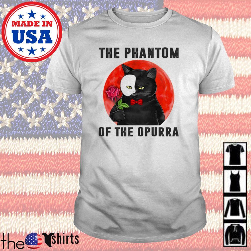 Cat hold rose the phantom of the Opurra blood moon shirt