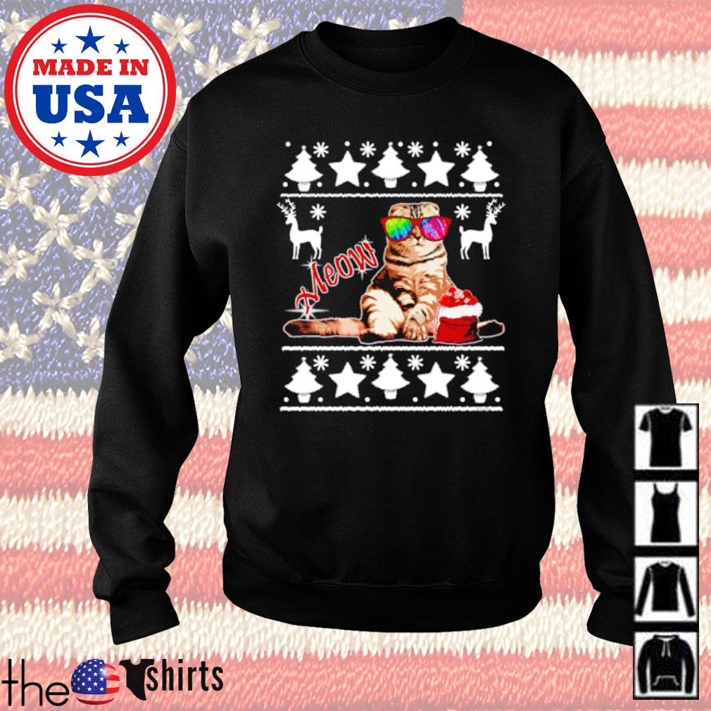 Cat meow ugly Christmas sweater
