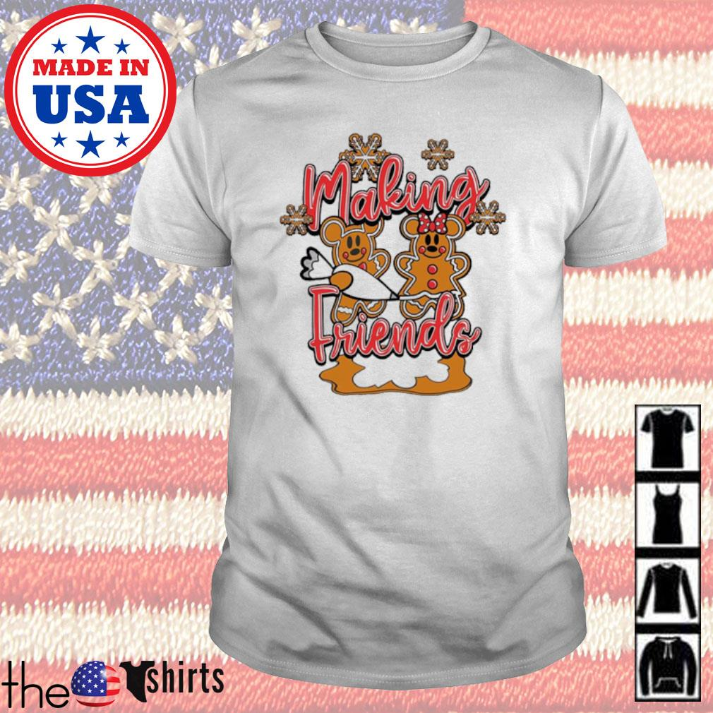 Christmas Mickey and Minnie Mouse cake making Friends sweater shirt
