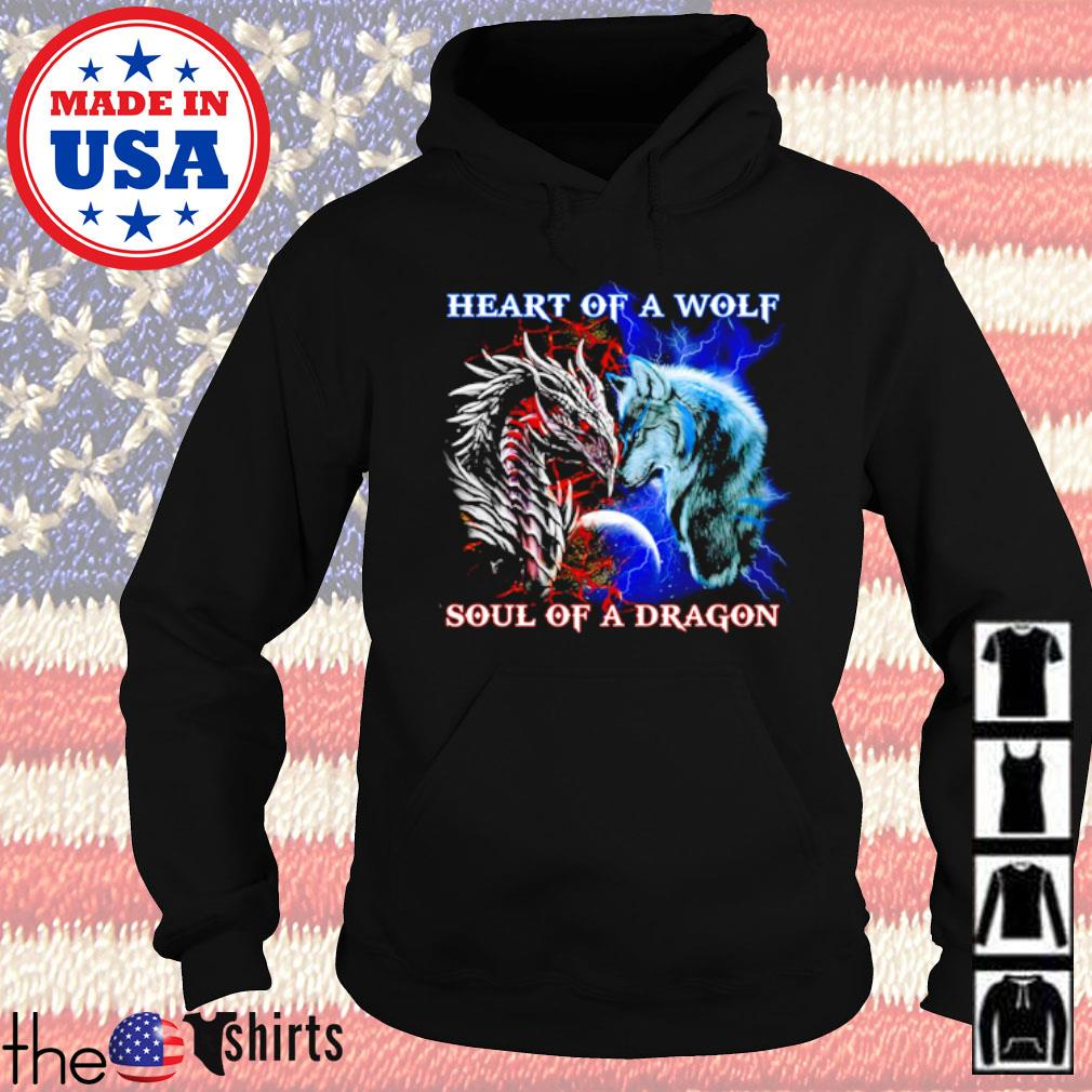 Heart of a wolf soul of a dragon s Hoodie Black