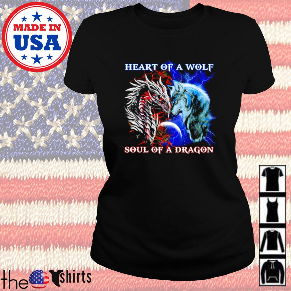 Heart of a wolf soul of a dragon s Ladies Tee Black
