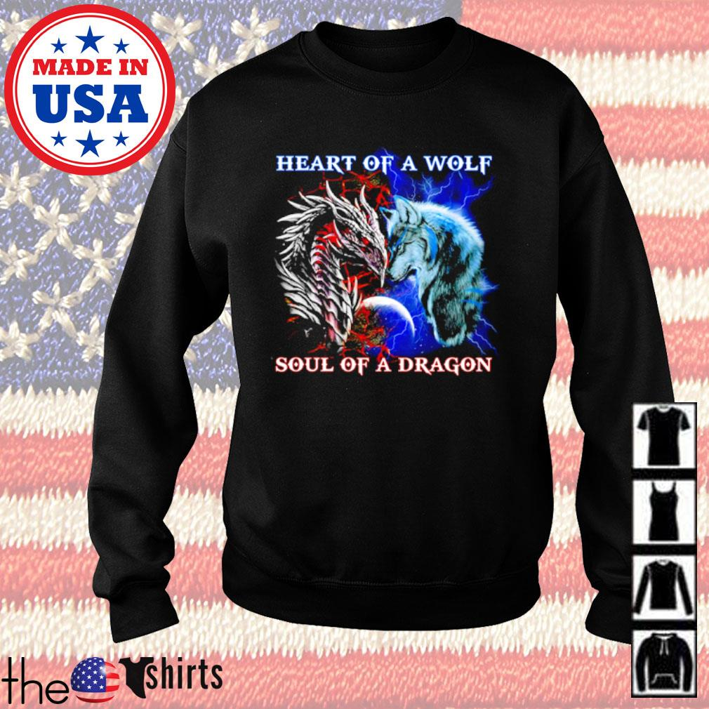 Heart of a wolf soul of a dragon s Sweater Black