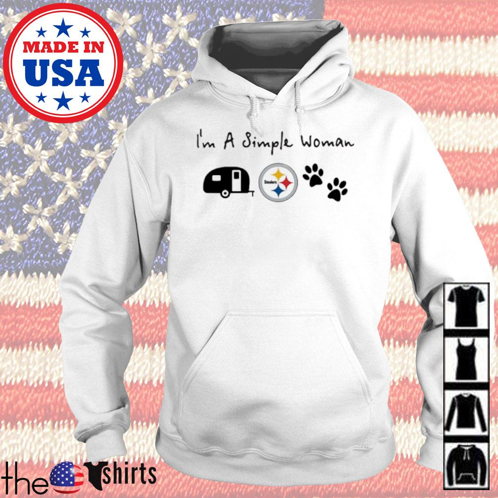 I'm a simple woman I like camping Pittsburgh Steelers and paw dog s Hoodie