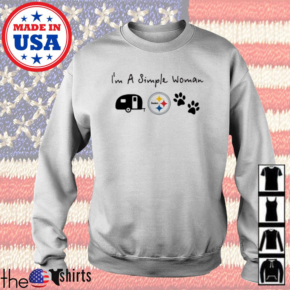 I'm a simple woman I like camping Pittsburgh Steelers and paw dog s Sweater