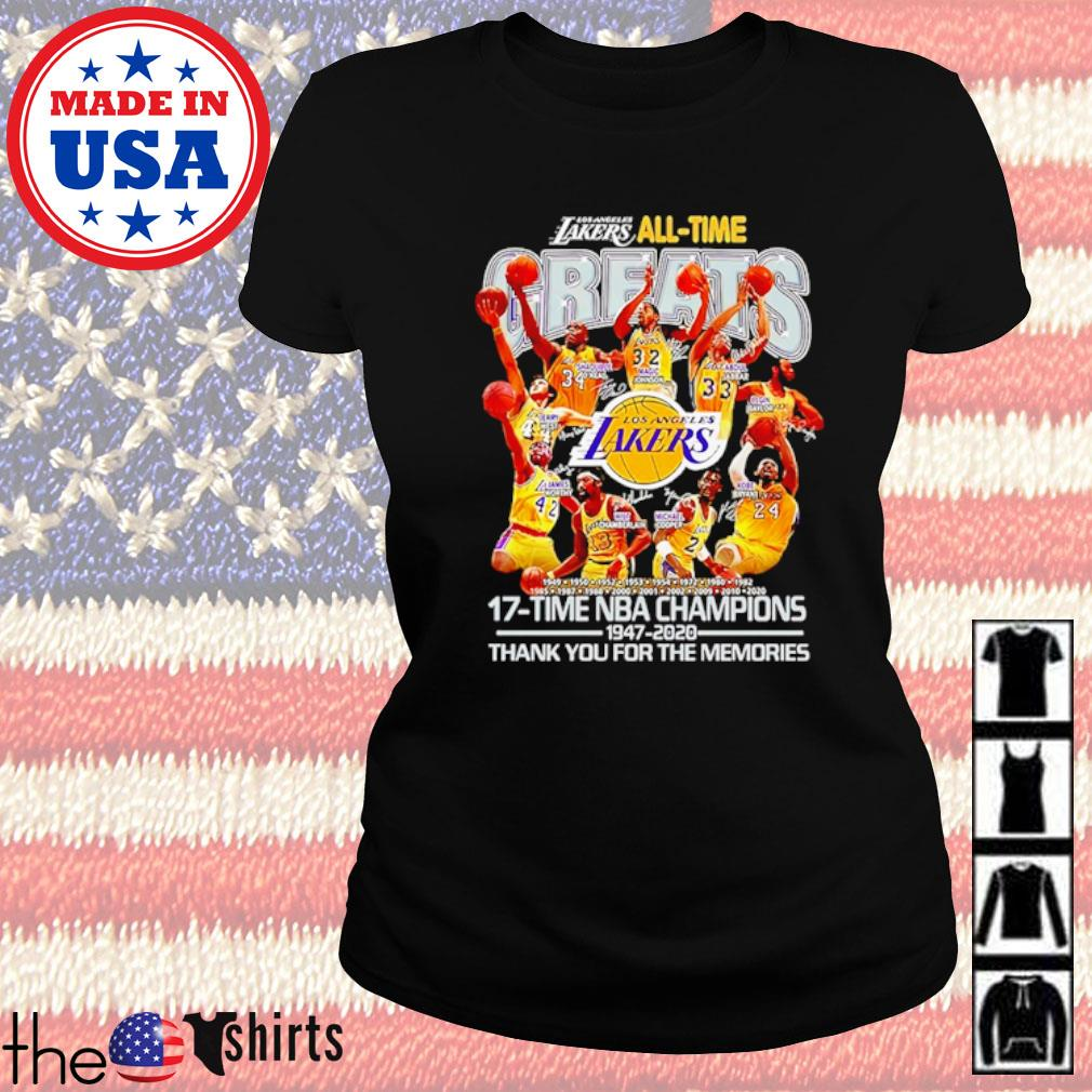 Los Angeles Lakers all-time 17-Time NBA Champions 1947-2020 thank you for the memories s Ladies tee