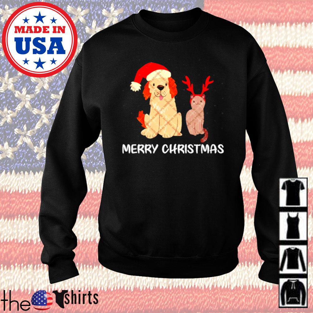 Merry Christmas dog Santa hat and cat reindeer sweater