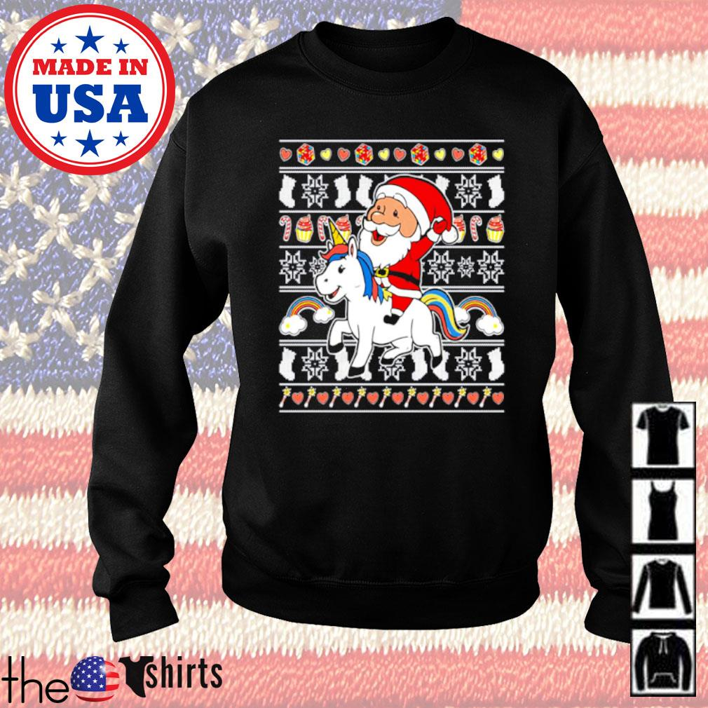 Santa Claus riding unicorn Christmas sweater