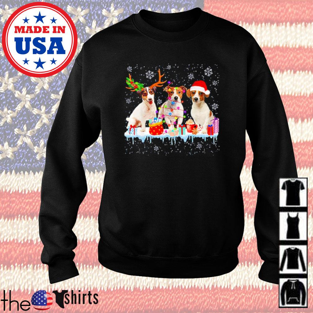 Three Beagles dog reindeer Santa hat snow Christmas sweater