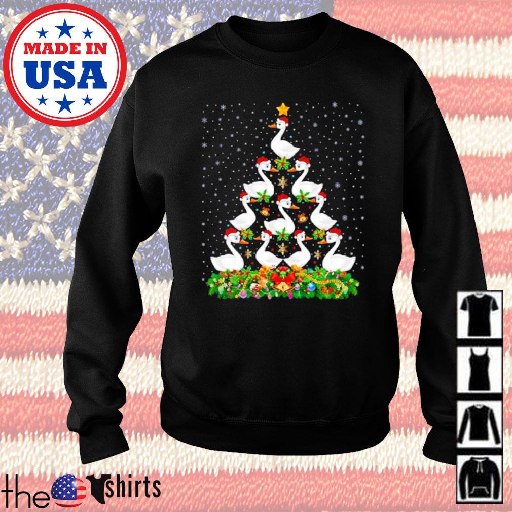 White gooses Christmas tree sweater