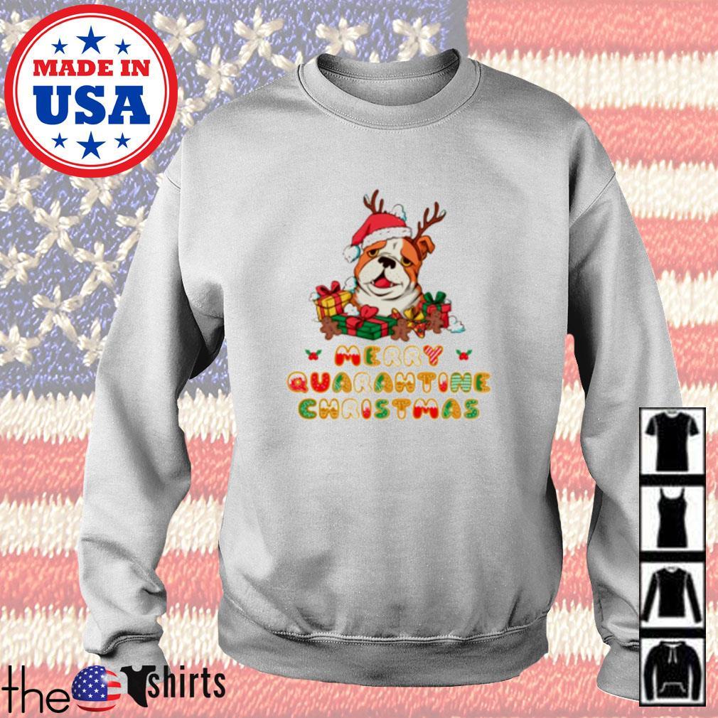 Bulldog Santa hat merry quarantine Christmas gift sweater