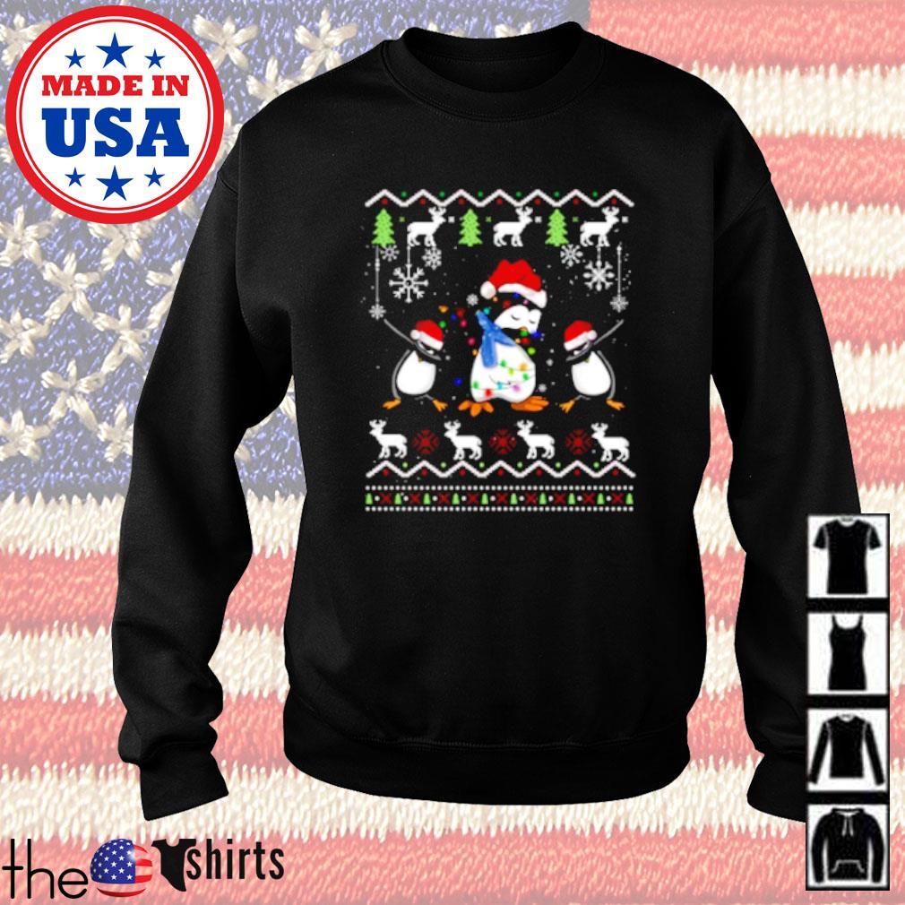 Penguins dabbing ugly Christmas sweater
