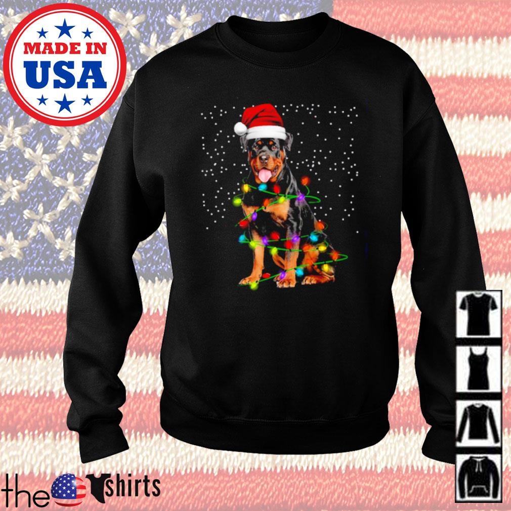 Rottweiler dog Santa hat lights Christmas sweater