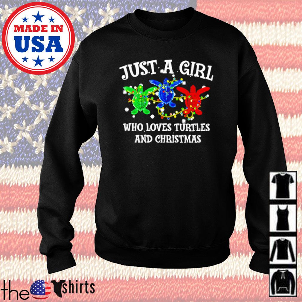 Green blue and red just a girl who loves turtles and Christmas sweater