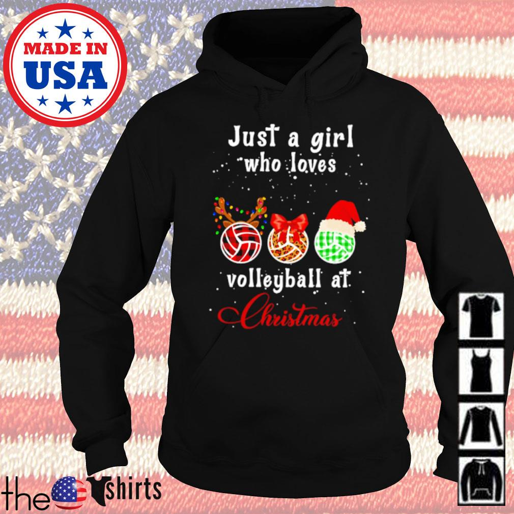 Just a girl who loves volleyball at Christmas sweater Hoodie