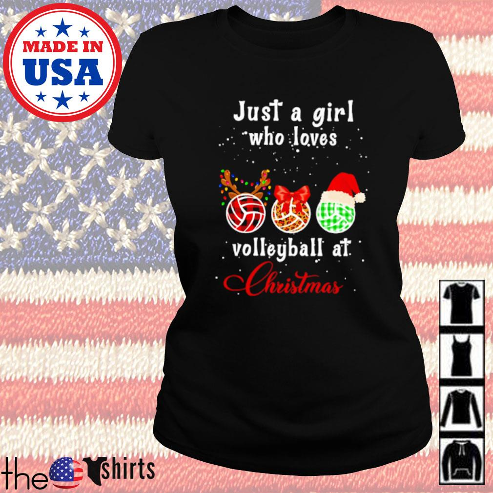 Just a girl who loves volleyball at Christmas sweater Ladies tee