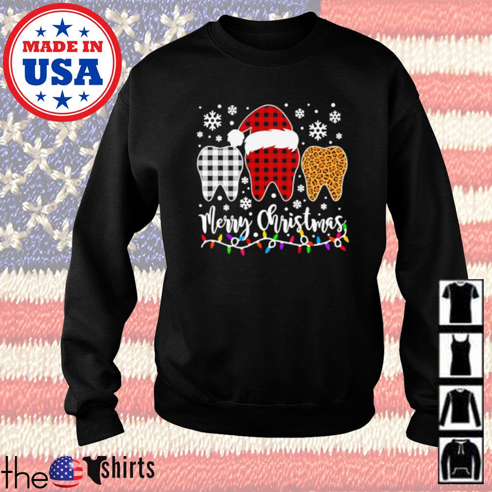 Red white and leopard buffalo plaid Santa tooth merry Christmas sweater