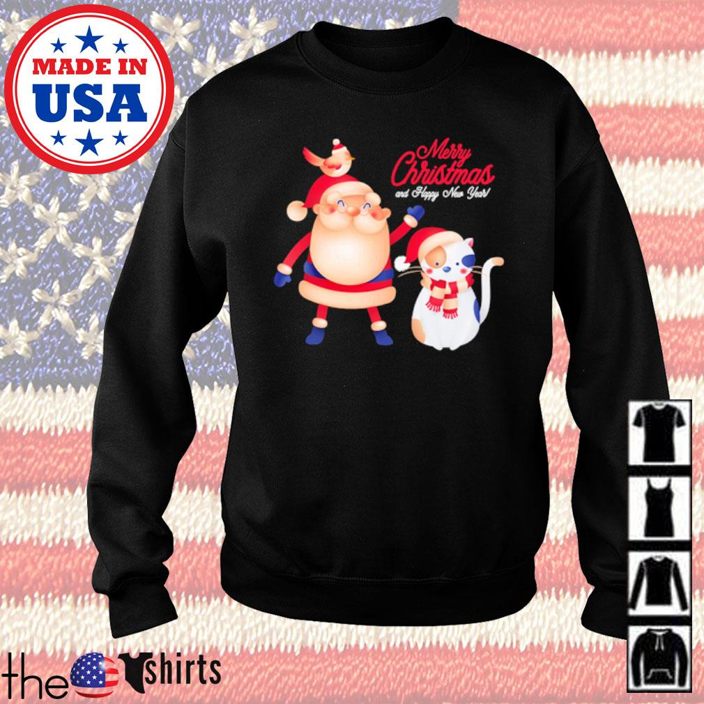 Santa Claus and cat Noel merry Christmas and happy new year sweater