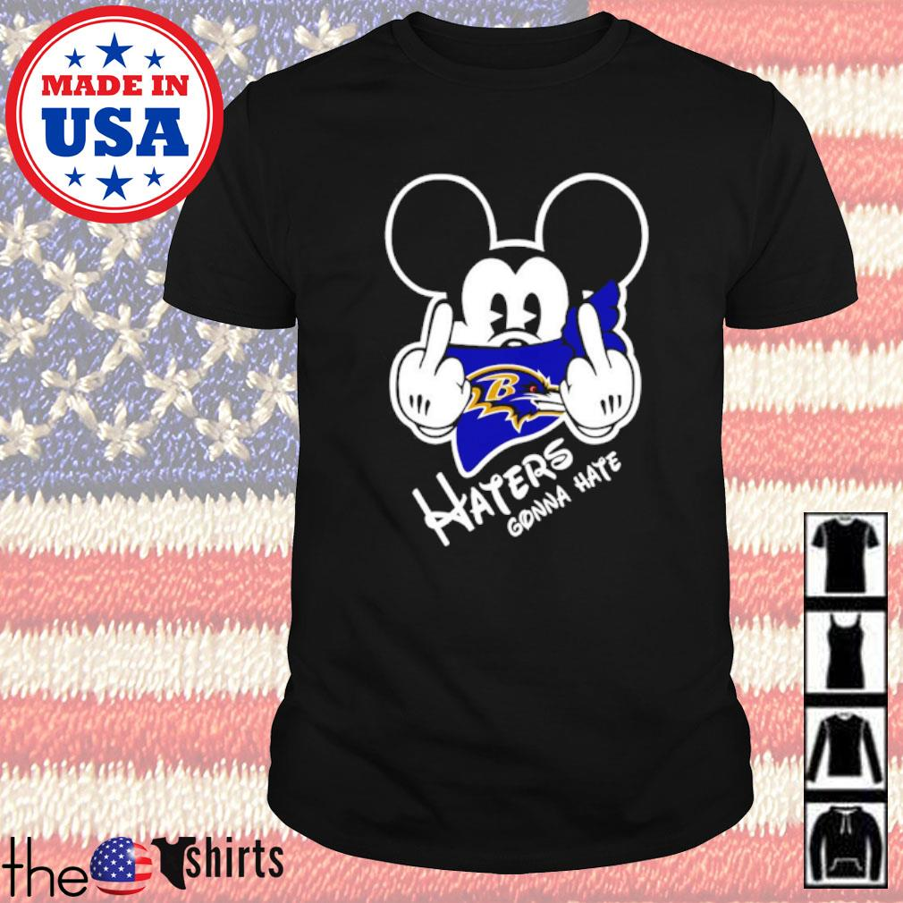 Baltimore Ravens football Mickey Mouse middle finger haters gonna hate shirt