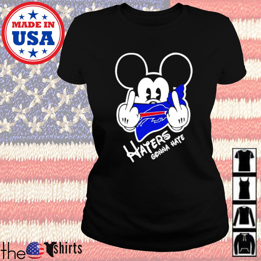 Buffalo Bills football Mickey Mouse middle finger haters gonna hate s Ladies tee