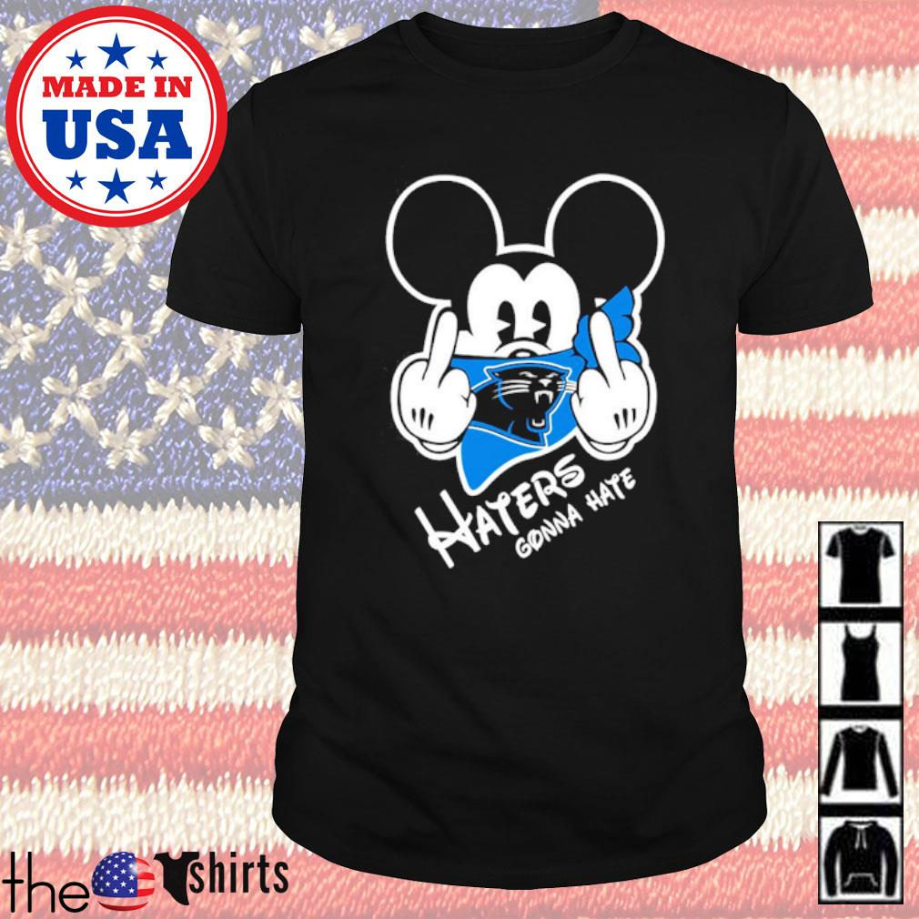 Carolina Panthers football Mickey Mouse middle finger haters gonna hate shirt