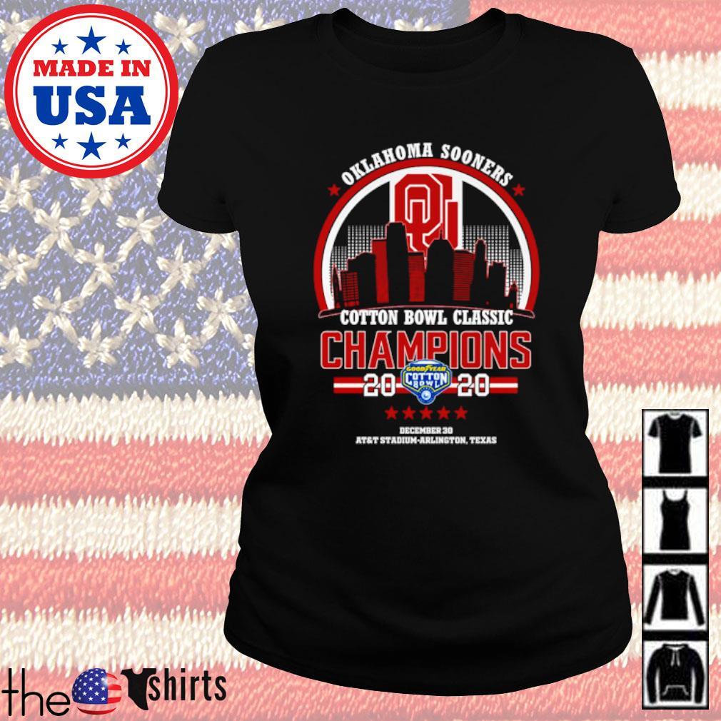 Oklahoma Sooners 2020 Goodyear Cotton bowl classic Champions s Ladies tee