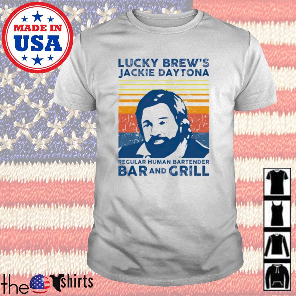 Vintage lucky Brew's Jackie Daytona regular human bartender bar and grill shirt